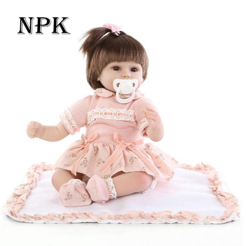 40cm NPK Fashion Simulation Toys Reborn Baby Girl Doll Alive Lifelike Kid Silicone Soft Toys Playmate Gift Can Put Into Water 40cm sotf silicone simulation reborn baby doll kids playmate fashion soft stuffed toys gift accompany toy birthday gifts