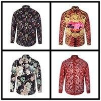 2017 heren medusa shirt fashion tops heren dragen Luxe Paleis Stijl Casual 3D Digitale Bloemen heren shirts