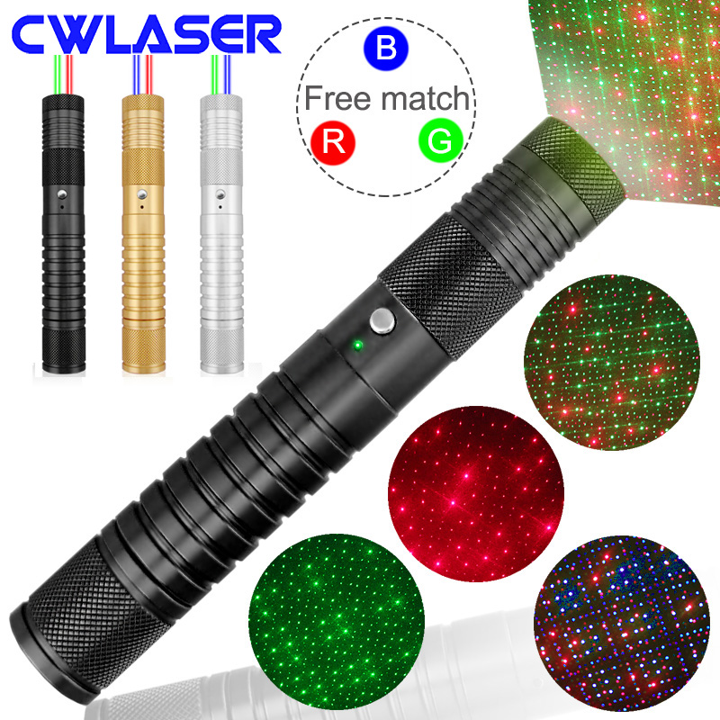 CWLASER High Power 2-in-1 4 Modes 100mW 532nm Green / 100mW 650nm Red / 100mW 450nm Blue Laser Pointers (3 Colors) high quality red laser diode with tt30k 100mw 650nm