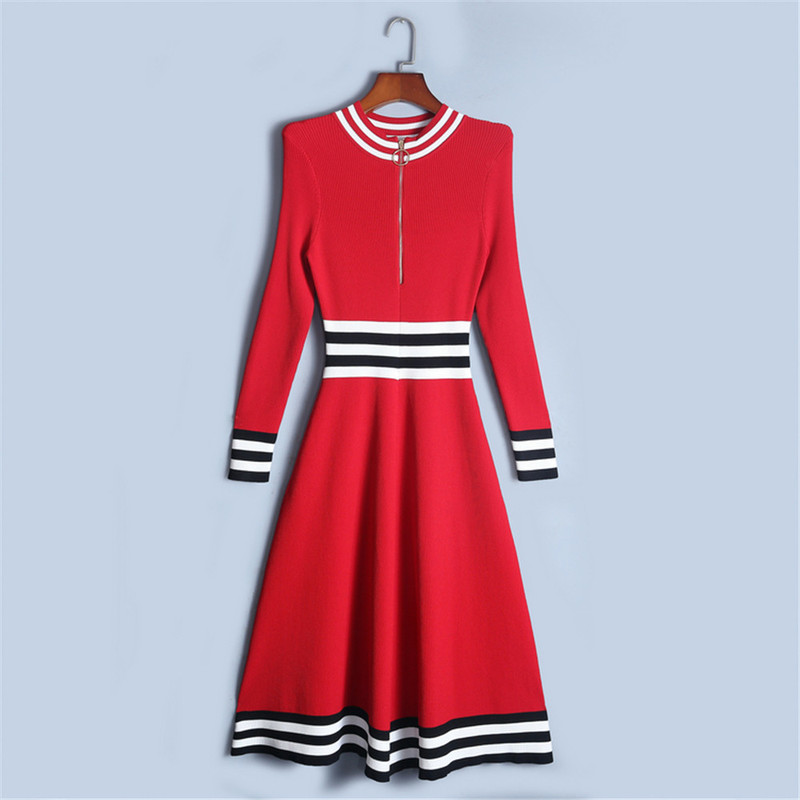Tunjuefs Elegant Bodycon Striped Zippers Knitted Party Dress Women Robe Dress Vestido Slim Runway Pullovers Dress