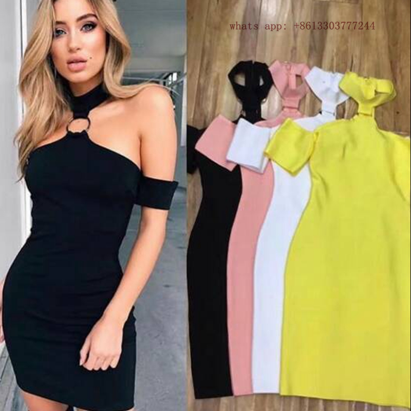 sexy off shoulder halter yellow black white summer vetsido 2017 women fashion dresses bandage cocktail gown party dresses