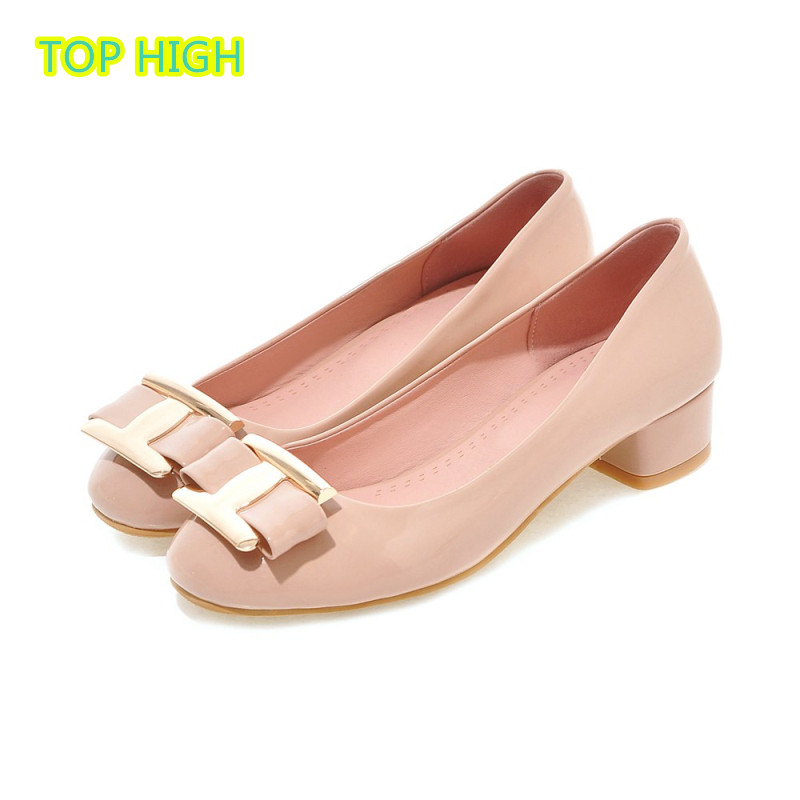 Big Size Square Toe Australia Basic High Heel women s Shoe PU Leather Metal Bow Elegant