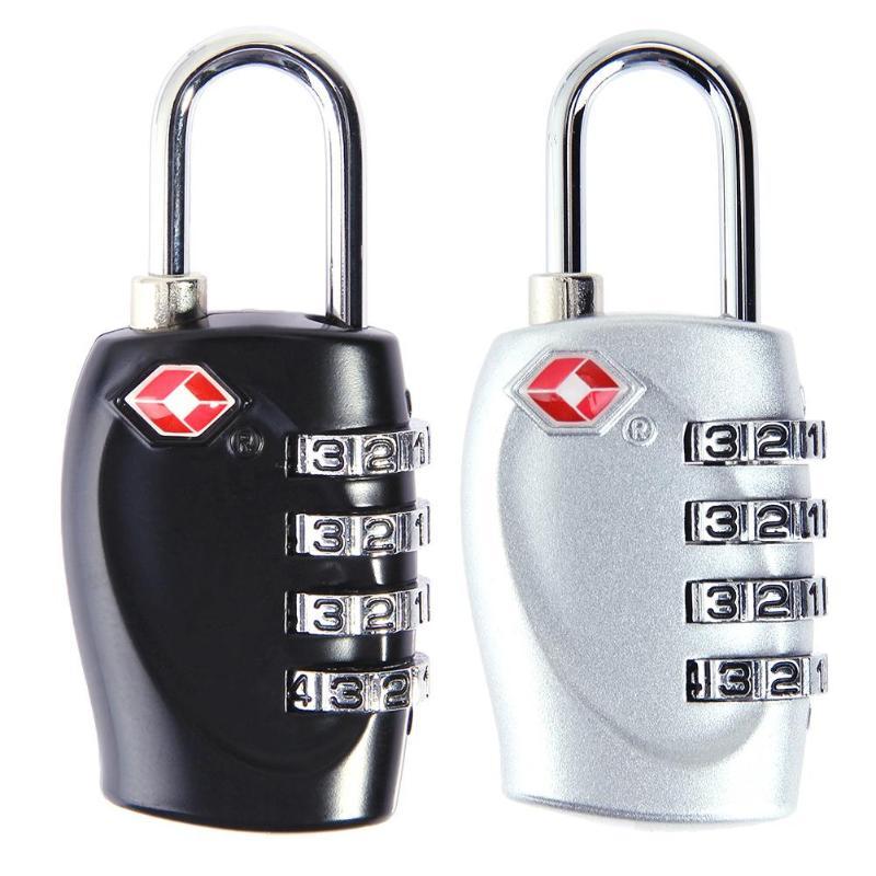Cerraduras de equipaje 4 dígitos Contraseña de combinación cerraduras de aleación de Zinc maleta del viaje del equipaje de bloqueo antirrobo bloqueo de seguridad