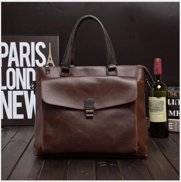 Men Oil Waxy Leather Antique Design Business Briefcase Laptop Document Case Fashion Attache Messenger Bag Tote Portfolio