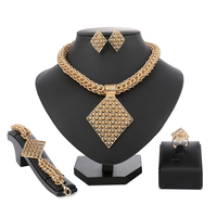 Vintage Turkish Wedding Dubai Gold Jewelry Sets For Women Brides Necklace Costume Jewellery African Beads Jewelry Set