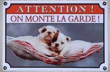 1 pc French Do not disturb warning dog  garden jardin Tin Plate Sign wall plaques house Decoration Dropshipping metal Poster