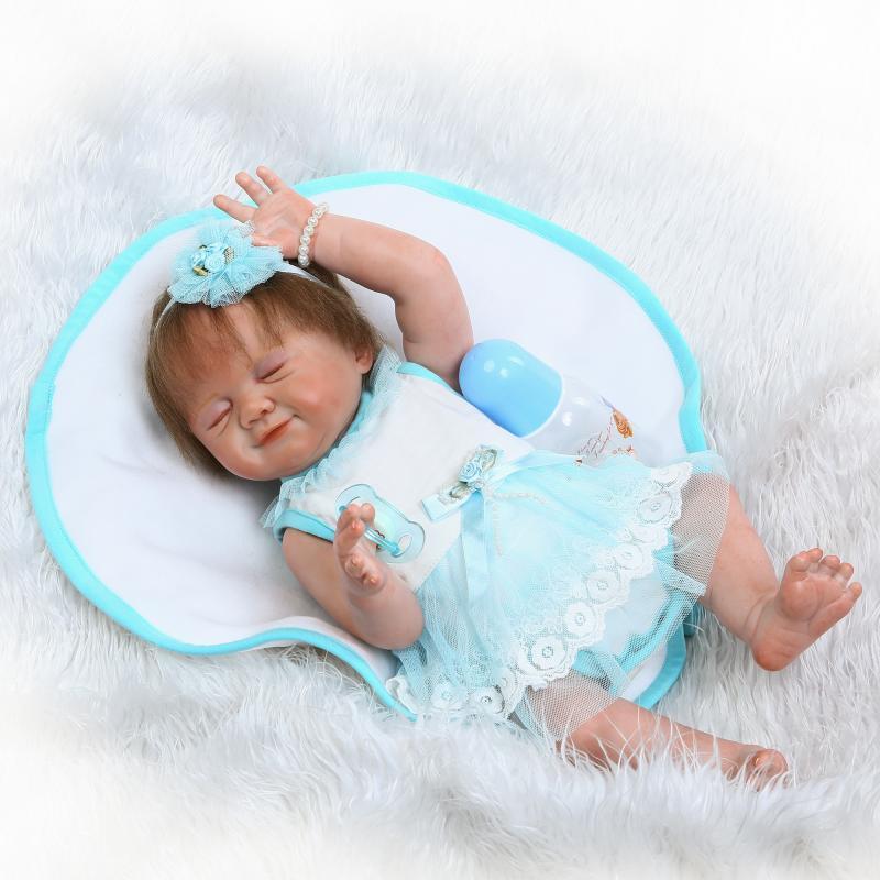 22inch newborn baby doll Sleeping Closed Eyes Lifelike Realistic full body silicone reborn dolls Bebe Toys For Chidlren NPK 55cm silicone reborn babies dolls closed eyes sleeping newborn baby lifelike best baby doll toys gifts