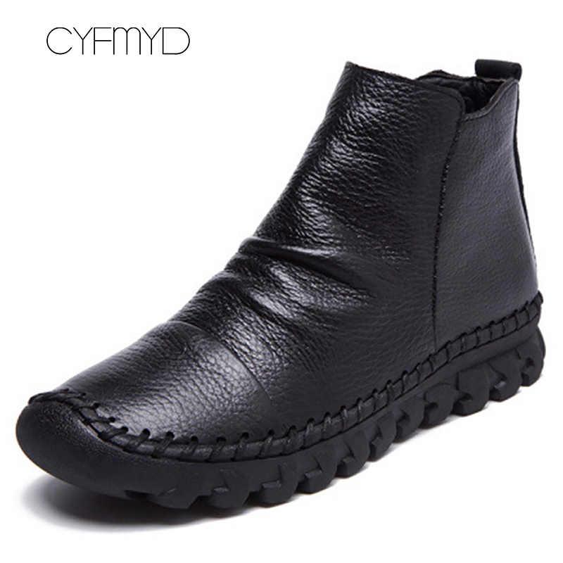 Mắt Cá Chân Giày Da Thật Chính Hãng Da Giày Nữ Mùa Đông 2019 Giày Sang Trọng Xếp Ly Bò Giày Da Mũi Tròn Màu Đen Sapato Feminino