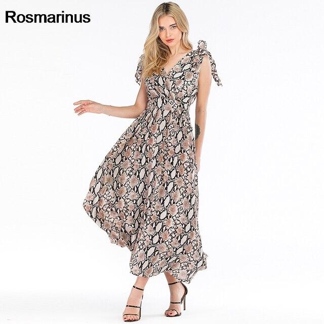 נחש הדפסת שמלת נשים קיץ V צוואר שרוולים גבוה מותן ארוך Boho שמלה אלגנטי עניבת כתף V ללא משענת סקסית המפלגה שמלות