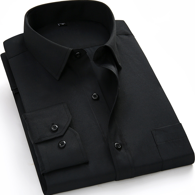 Plus Large Size 8XL 7XL 6XL 5XL Mens Business Casual Long Sleeved Shirt Classic White Black Dark Blue Male Social Dress Shirts 17