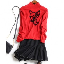 Europe and the United States women's new autumn 2016 The fox embroidery knitting sweaters + vest dress suit