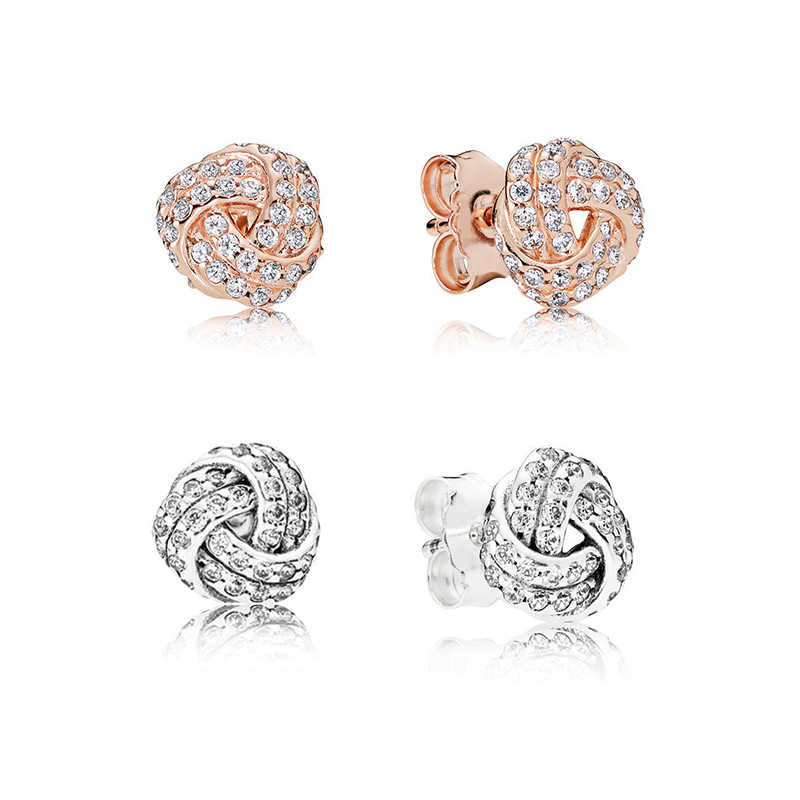 274c660fe Authentic 925 Sterling Silver Original Sparkling Love Knot Pandora Stud  Earrings With Clear CZ For Women