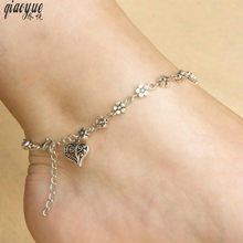 Retro Silver Hollow Plum Flower Feather Orchid Heart Heart Anklet Anklets For Women Leg Bracelet Jewelry Foot(China)