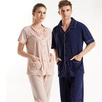 Couple Pajama Sets O Neck Short Sleeve 100 Cotton Sleepwear Women Personality Pattern Design Pyjamas Adult