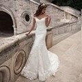 Vestido de casamento Da Sereia Do Vintage Do Pescoço Da Colher Cap Manga Curta Sexy 2017 Nupcial Do Vestido de Casamento Trem Da Varredura Vestido De Noiva