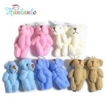 Wholesale 20pcs/Lot 3.5cm Mini Plush Joint Teddy Bear Bouquet Accessories Wedding Supplies Small Pendant