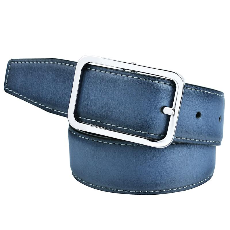 Azul de los hombres cinturones de cuero genuino Reversible 90 cm-125 cm Correa con hebilla