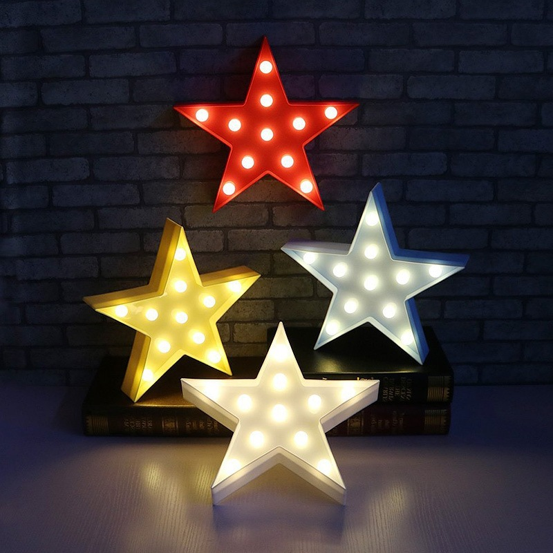 Hot New Star Design Christmas Decorative Night Light Battery Operated Wall Lamp Fairy Lights Party Supplies Indoor Lighting