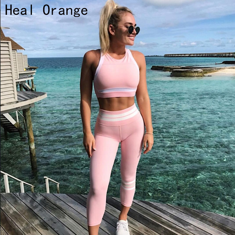 Heal Orange Pink Suits Elasticity Quick Dry Yoga Set Leggin Workout Sets Sport Clothes For Women Gym Clothing Active Wear Womens