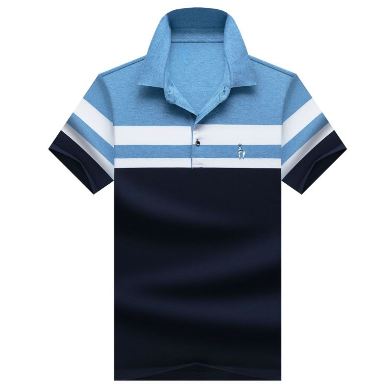 2019 Summer Mens   Polo   Shirt Brands Male Short Sleeve Business Casual Striped Luxury Embroidery   Polo   shirt 3XL