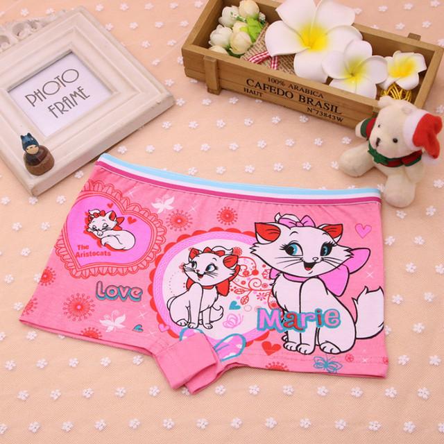 4Pcs/Lot Children's Boxer Underwear Cotton Cute Cat Girls Underwear Boxer Briefs New HTNN441