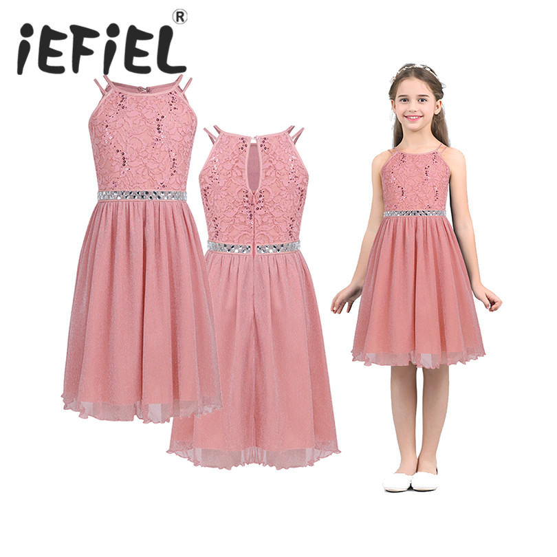 IEFiEL Cute Flower Girls Dress Sleeveless Sequined Floral Lace Shiny Dress Children Kids First Communion Party Summer Dresses