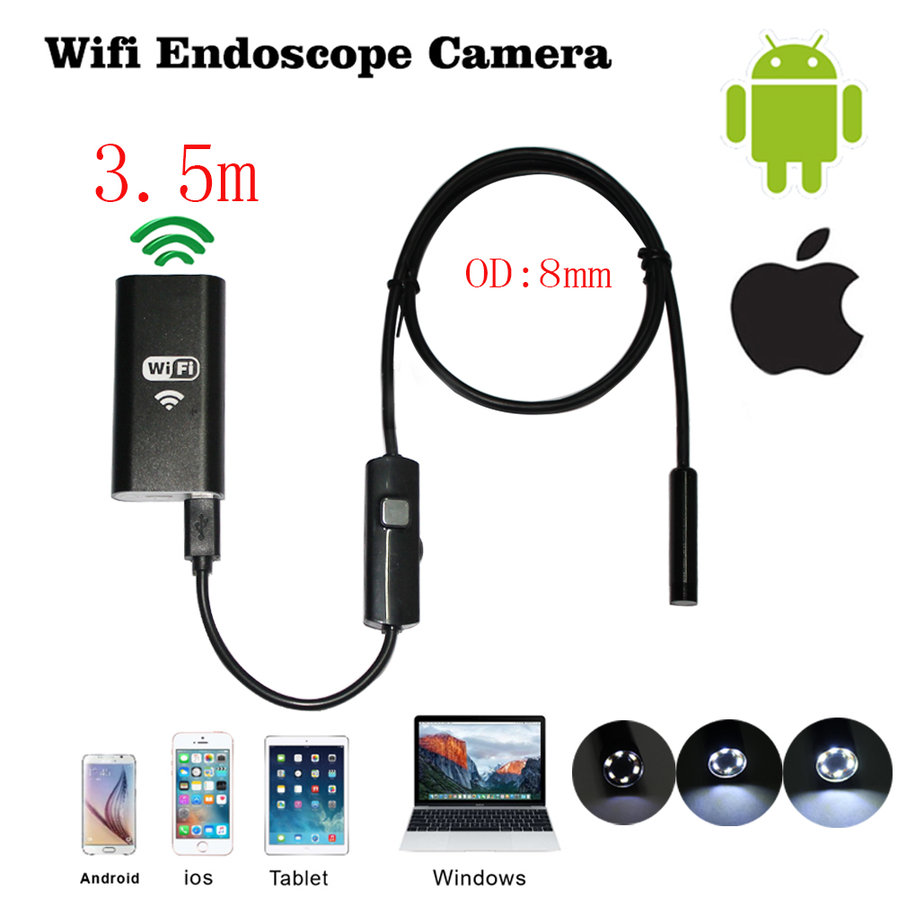 8mm 3.5m Wireless Wifi Endoscope Android Camera Borescope HD 1280 * 720 IP67 Waterproof Inspection IOS Iphone Endoscope Camera 8mm 1m 2m 3 5m wifi ios endoscope camera borescope ip67 waterproof inspection for iphone endoscope android pc hd ip camera