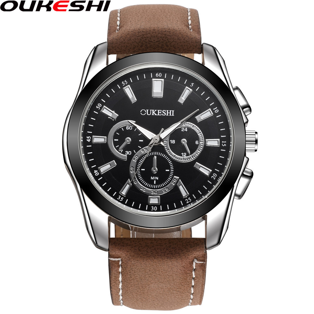 2018 OUKESHI Brand Men Sports Watches Luxury Leather Military Watch Male Quartz Wristwatch Relogio Masculino OKS12
