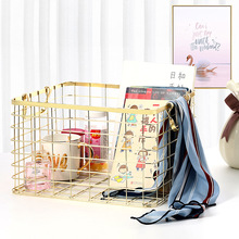 New Metal Storage Basket Fashion Chic Nordic Handmade Iron Mesh Clothes Cosmetics Bathroom Rack