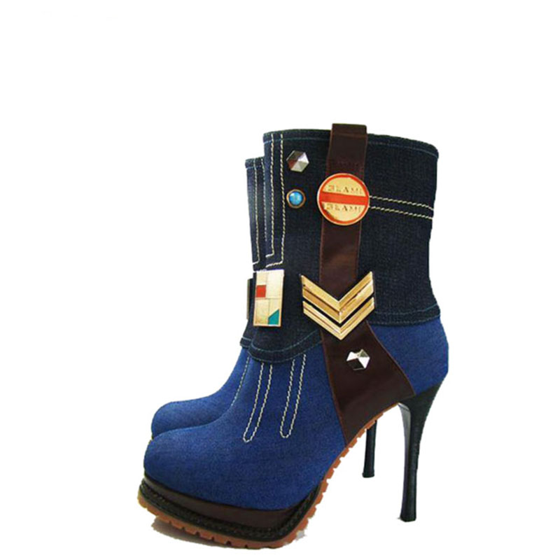 The new denim fashion boots boots for women's shoes in Europe and the high heels nightclub knight boots sexy female short boots fall trendboots in europe and america heavy bottomed martin boots british style high top shoes shoes boots sneakers