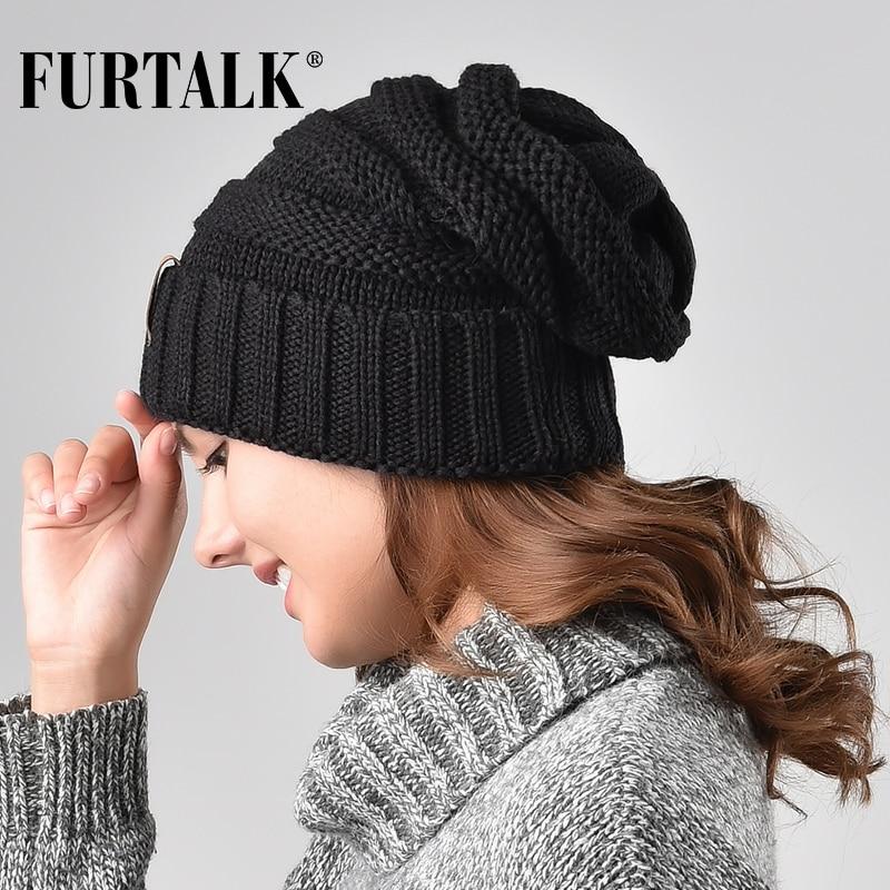 FURTALK Winter Knitted Hat Women Hat Slouchy Beanie for Girls Skullies Cap A047 1