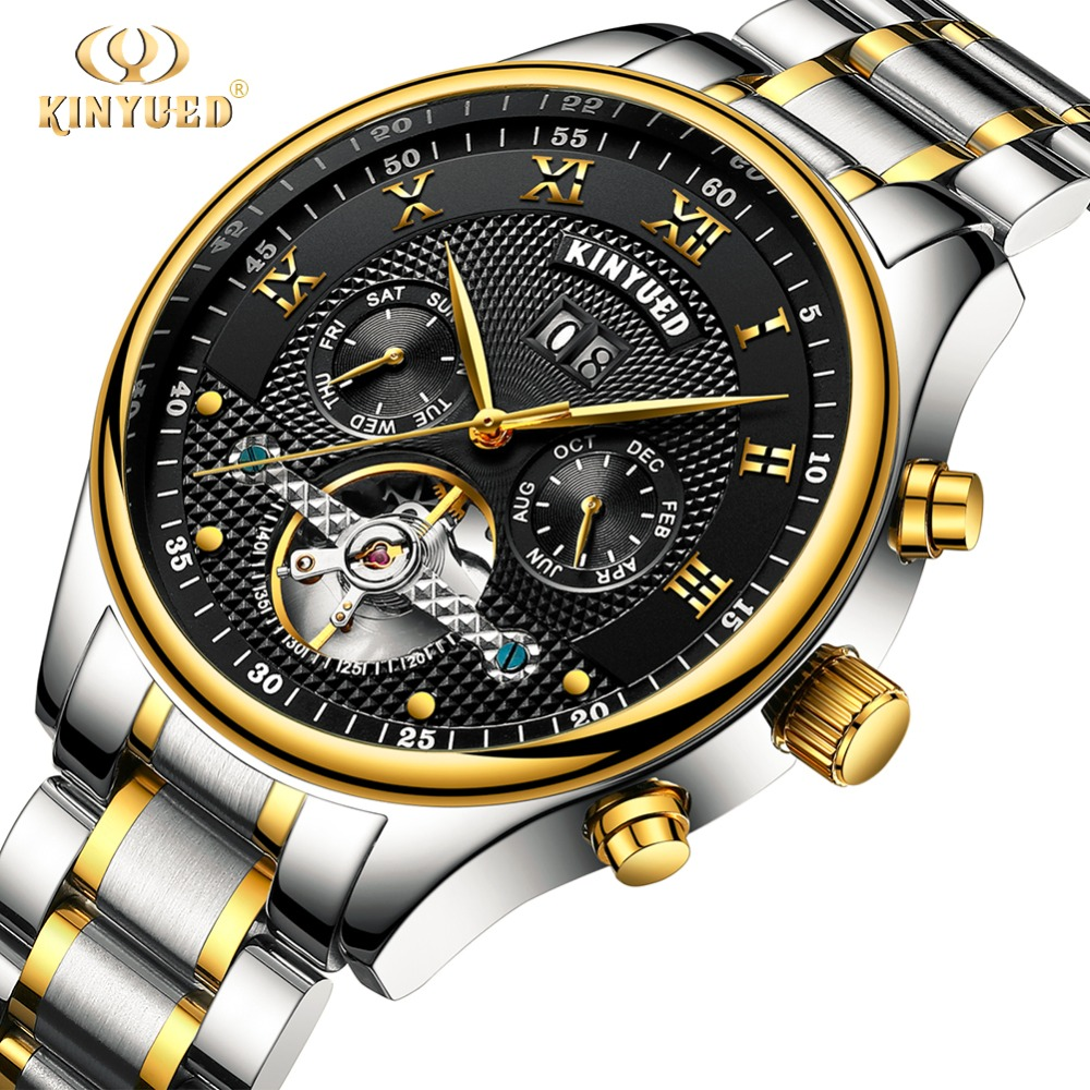 KINYUED Mens Automatic Mechanical Watches Business Luxury Brand Fashion Man Watch Waterproof  Stainless Steel Horloges Mannen цена и фото