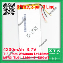 3060145 3160145 three.7V 4200mah Lithium polymer Battery with Safety Board For PDA Pill PCs Digital Merchandise Free Transport