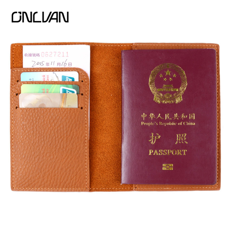 ONLVAN Genuine Leather Passport Holder Vintage Style New Band High Quanlity Travel Accessories Support OEM Passport Cover