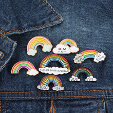 Cartoon Rainbow Enamel Pin Brooch Female Cute Mini Colorful Glitter Metal Denim Hat Badge Jewelry Boys Girls Gifts