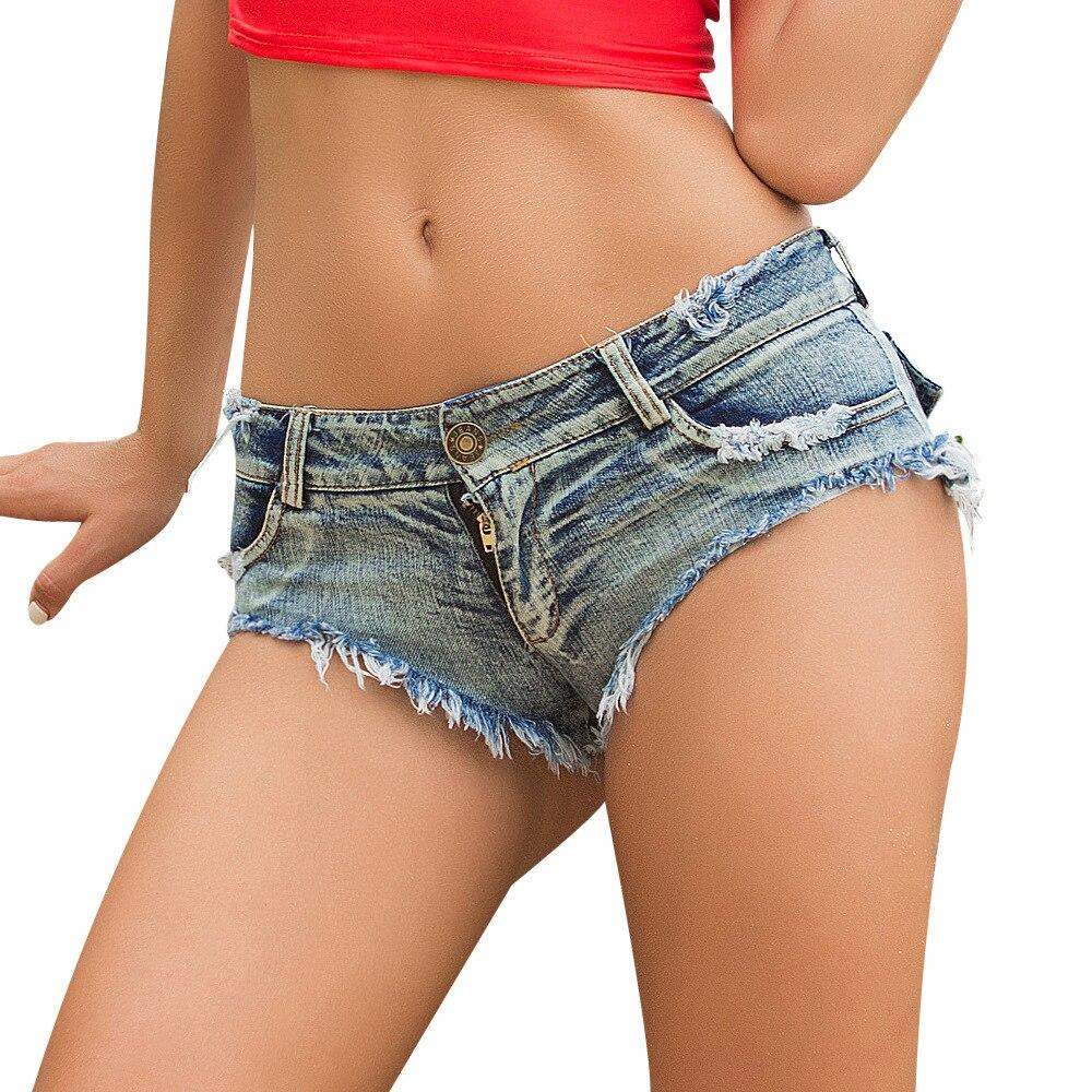 Women's strechy distressed denim shorts sexy women denim jeans low waist super mini shorts pants
