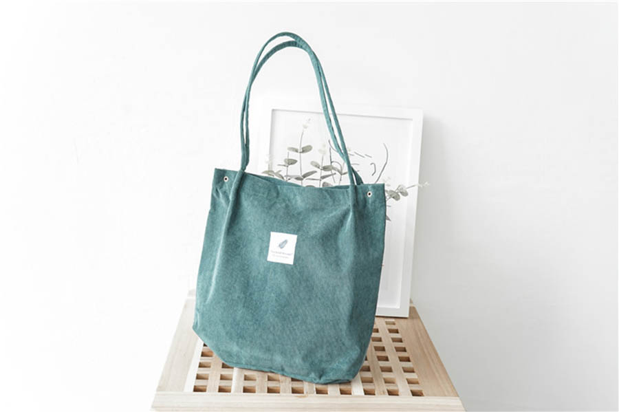 Mara's Dream High Capacity Women Corduroy Tote Ladies Casual Solid Color Shoulder Bag Foldable Reusable Women Shopping Beach Bag 38