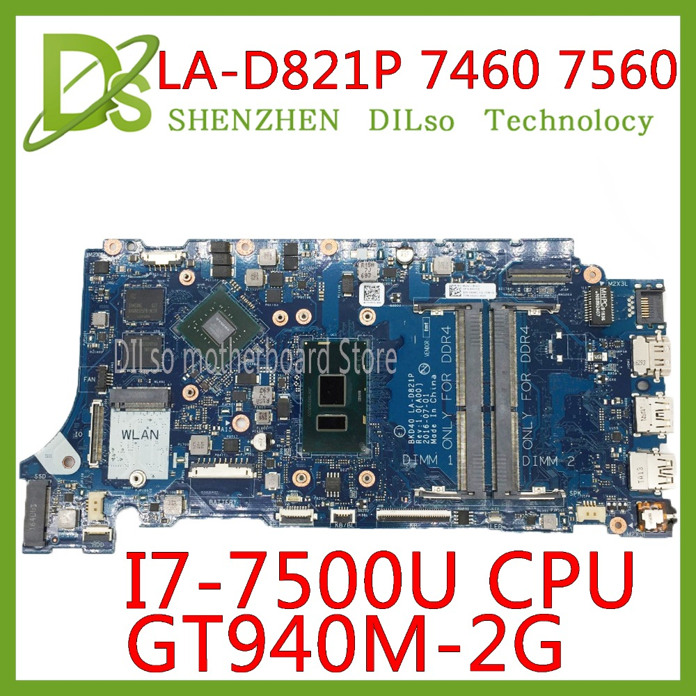 KEFU LA-D821P 09WC1G 9WC1G 05CPRV For Dell INSPIRON 7460 7560 Motherboard BKD40 LA-D821P REV:1.0(A00) I7-7500U Test Work 100%