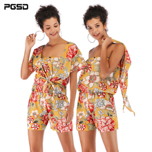 PGSD 2019 New Spring summer Fashion women clothes boat neck Flower Printed Chiffon Short-sleeve Elastic Waist shorts suit female