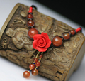 Ручной работы, плетеные веревки бисер цветок кулон гранат природный агат колье ожерелье женщины аксессуары оптовая/colar колье/бижутерии