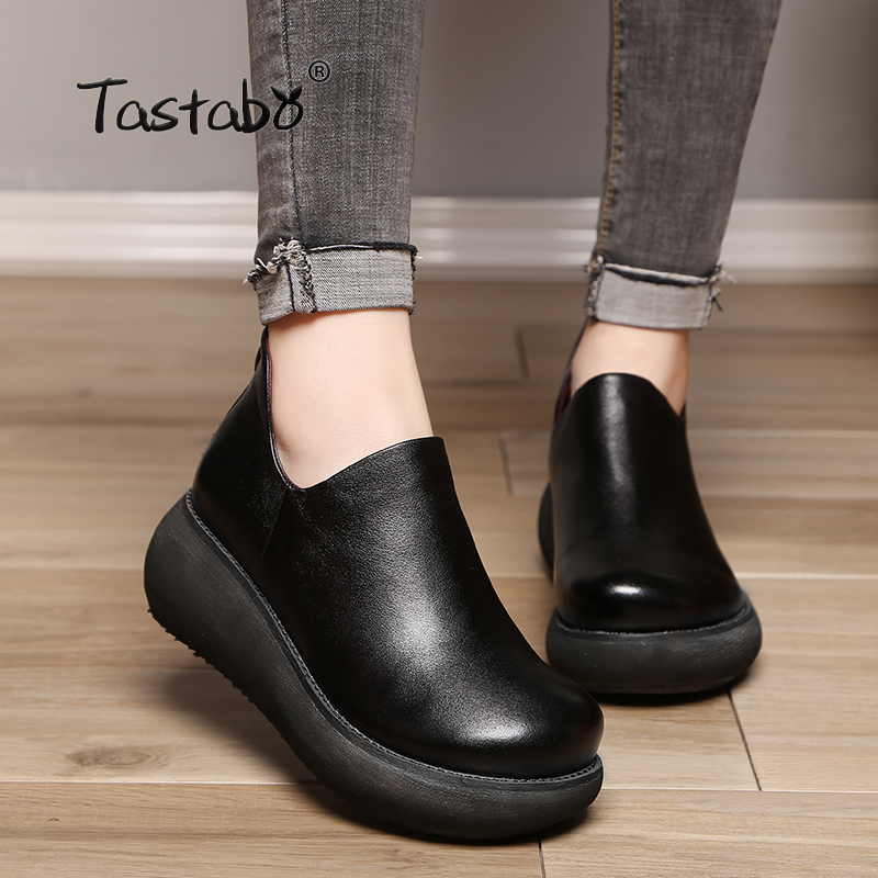 Tastabo Women Wedges Platform Boots High Heels Shoes Fashion Genuine Leather Ankle Boots Soft Leather Light Outsole Shoes Women