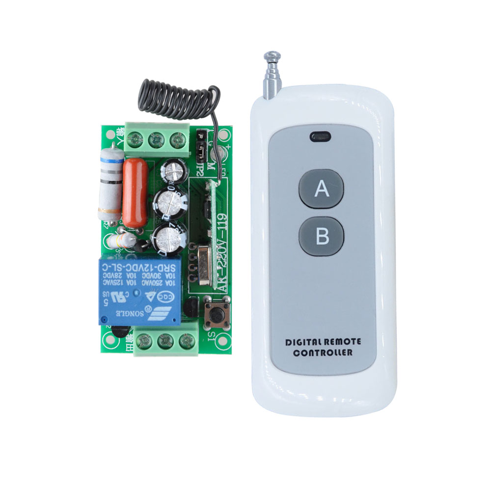 AK-220V-119 AC 220V 1CH 10A Wireless Remote Control Light Switch Relay Output Radio Receiver Module + 50-500M Transmitter ac 220v wireless remote control switch radio light switch remote on off 10a 1 ch relay wireless receiver one button transmitter