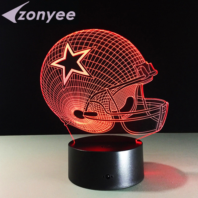 7 Colors LED Lamp Dallas Cowboys USB Touch Light Novelty Pittsburgh  Football Helmet RGB LED Night
