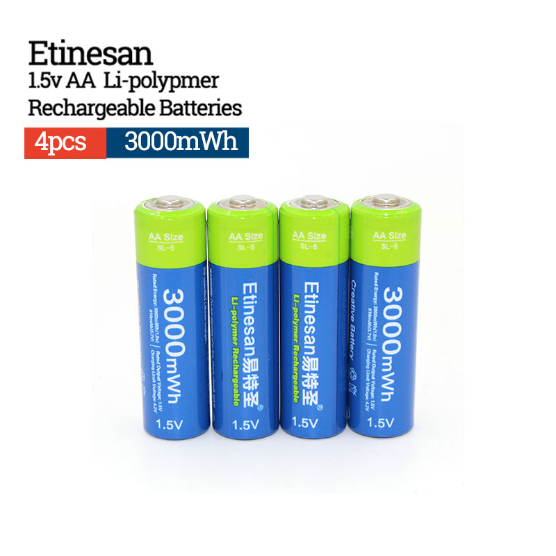 Etinesan 1.5V AA 3000mWh Rechargeable Battery Lithium polymer Batteries Apply to Camera Wireless Mouse Toy ect. image