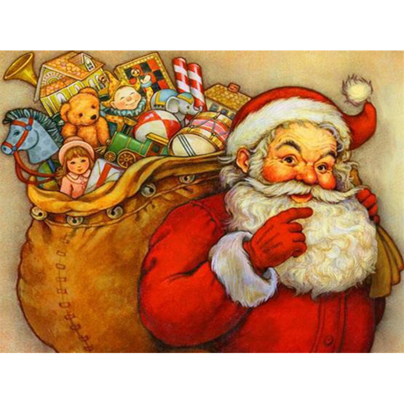 Mosaic Picture Santa Claus Diamond Painting Kit Full Square Drill Diamond Embroidery Winter Scenery Decor As Chrismas Gifts