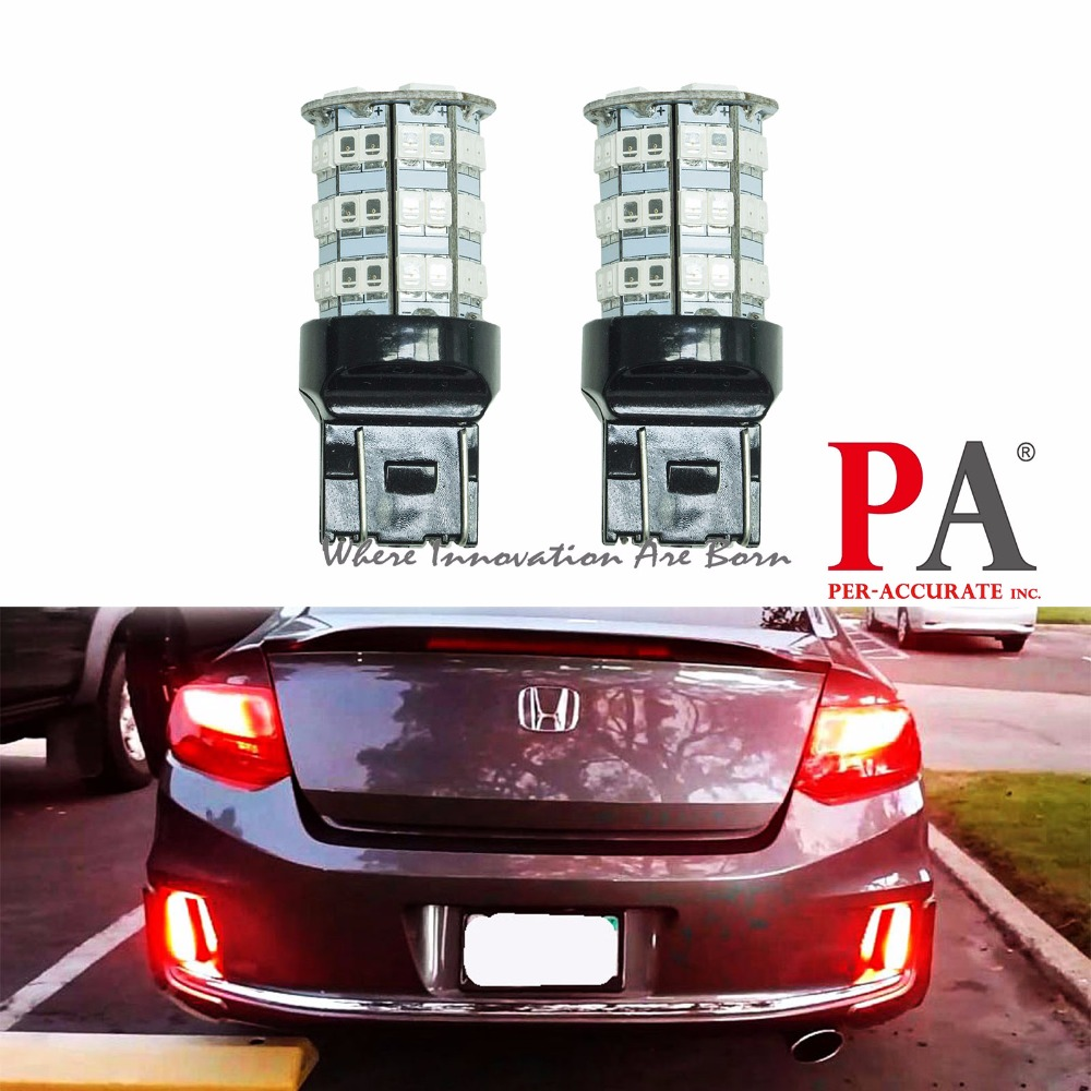 PA LED 2 x High Bright 55SMD 2835 5630 LED Brake Light Color Red 12V T20 7440 7443
