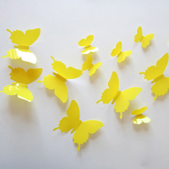 Yellow Butterfly 3D 12Pcs/Set