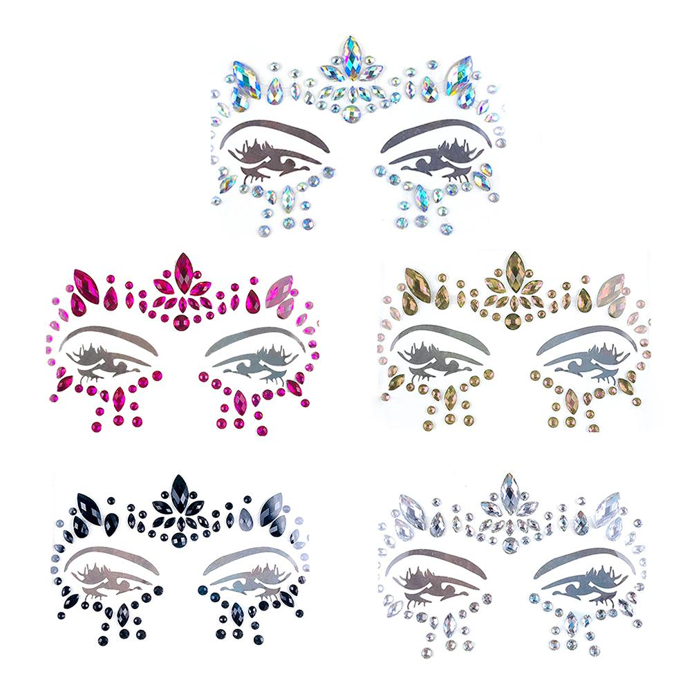 1PC Glitter Festival Party Face Stickers Easy To Operate Face Gems Rhinestone Body Tattoo DIY Acrylic Resin Stickers Makeup