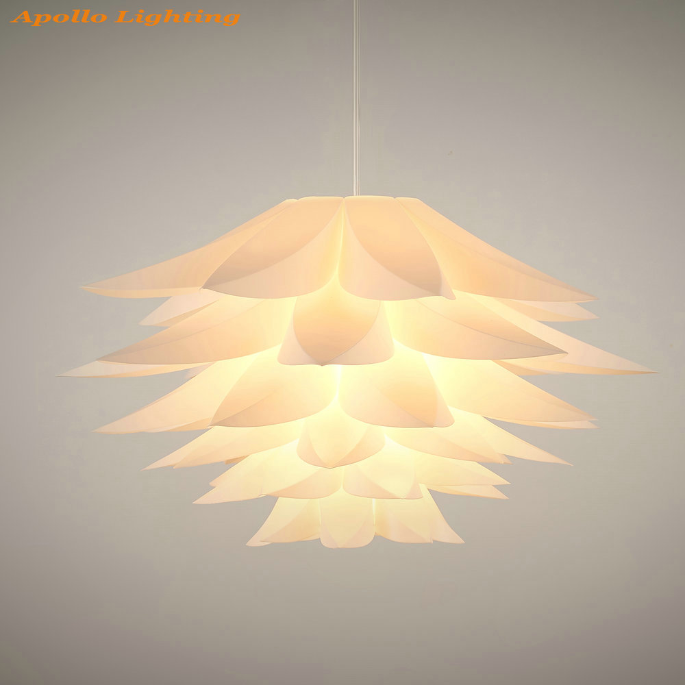 Flat flower white plastic lotus creative pendant lamp shade living flat flower white plastic lotus creative pendant lamp shade living room dinning room decorative light chandelier in pendant lights from lights lighting on arubaitofo Gallery