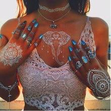 Krasivyy карункі часовых татуіроўка наклейка новая белы шнурок ювелірная арабская Індыя татуіроўка адпачынак вяселле паста макіяж дзяўчына татуіроўкі